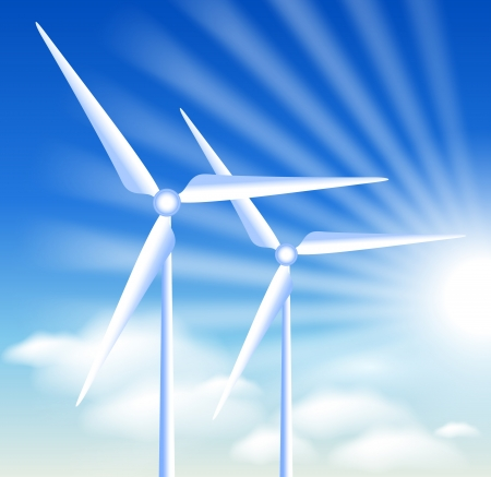 Wind turbines on the blue sky background and sun Vector
