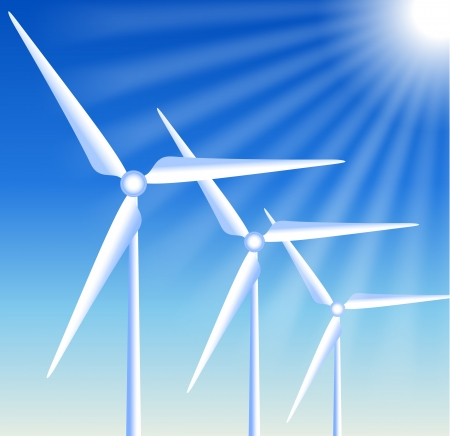 windpower: Wind turbines on the blue sky background and sun