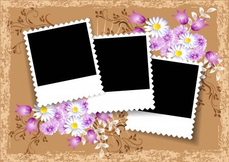 Page layout photo album with flowers Illustration