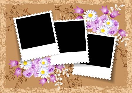 Pagina-indeling fotoalbum met bloemen