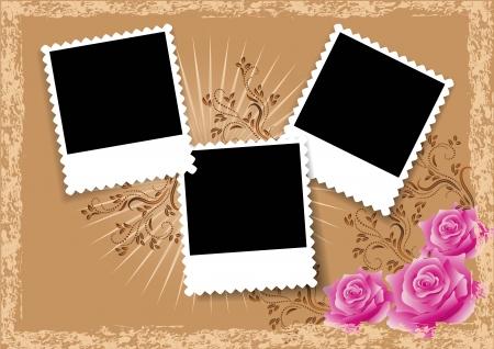 Pagina-indeling fotoalbum met rozen Stock Illustratie