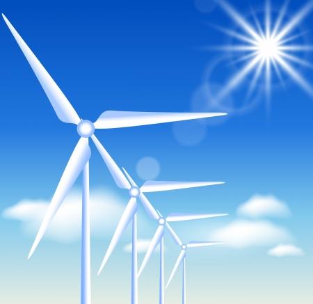 alternatively: Turbine eoliche sullo sfondo del cielo blu e sole