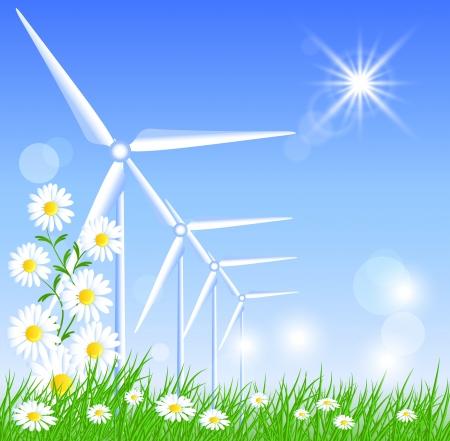 alternatively: Le turbine eoliche in campo e sole Vettoriali