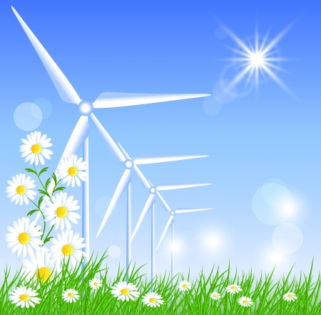Wind turbines in the field and sun Stock Vector - 21582195