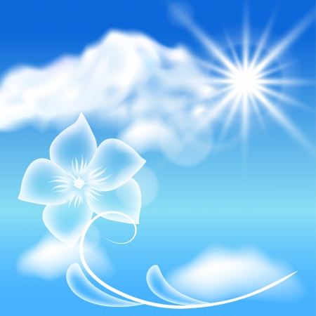 halation: Clouds, sun and transparent flowers in the blue sky Illustration