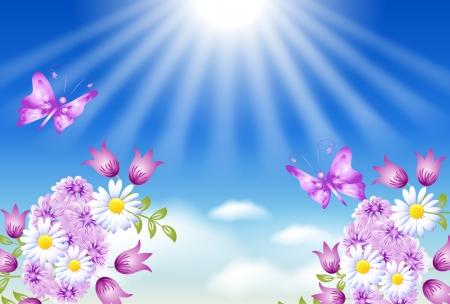 heaven background: Flowers, butterflies and sun