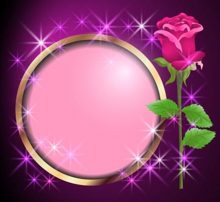 rose frame: Round frame and rose