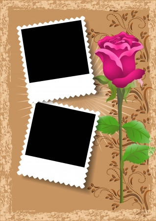 Page layout photo album with rose Vector