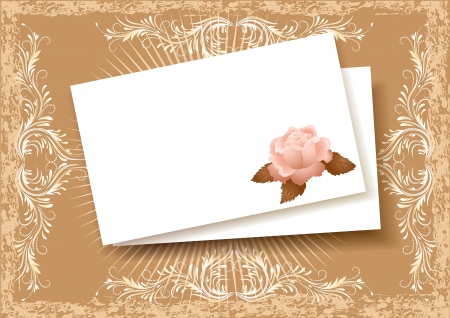 Background with paper and rose for insert of the text or a photo Illustration