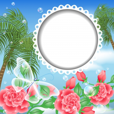 Design photo album with round photo frame   Vector
