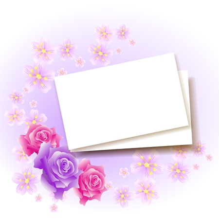 rose frame: Background with paper and roses for insert text or photo