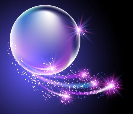 泡と星光る背景