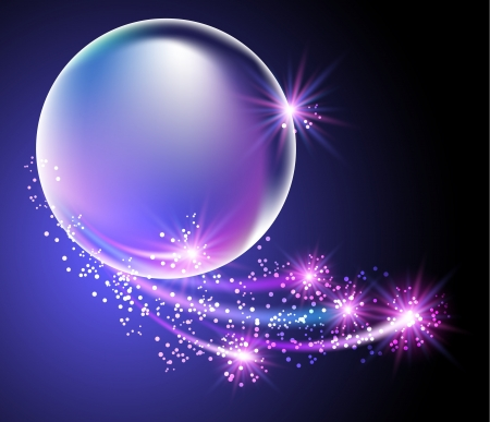 Glowing background with bubbles and stars