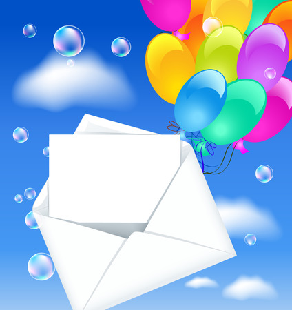 glued: Open envelope with colorful balloons and letter in the clouds sky