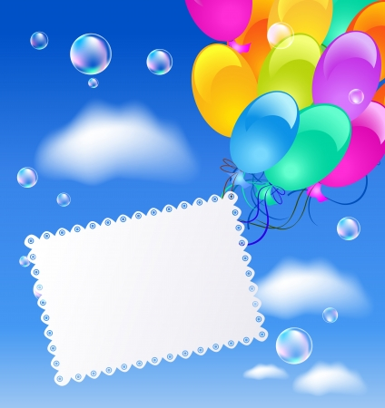 summer festival: Greeting card with balloons in the blue sky