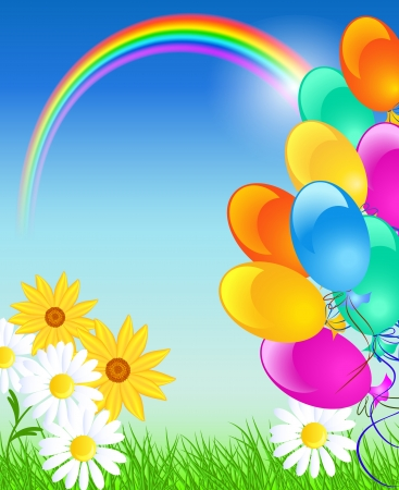 Meadow flowers, rainbow, balloons and blue sky