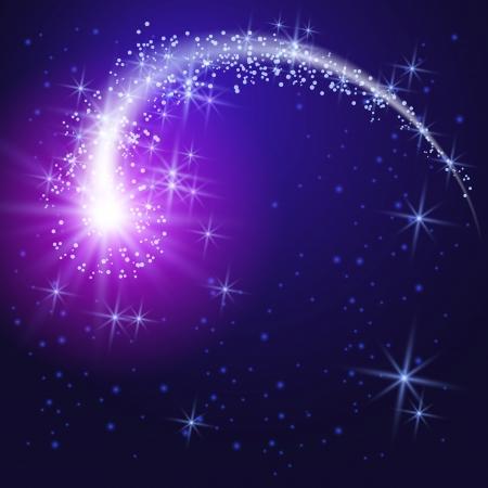 Fliegen Kometen und leuchtende Sterne