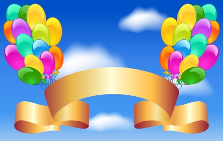 Balloons and golden ribbon in the blue clouds sky