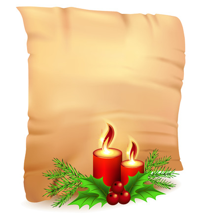 Old parchment and decorative Christmas spruce branches with candle and holly Vector
