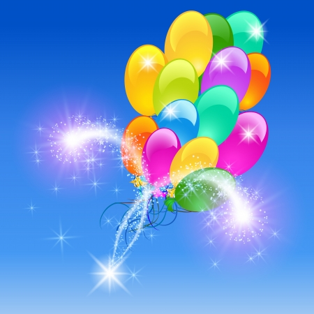 Holiday  with inflatable balloons firework Vector
