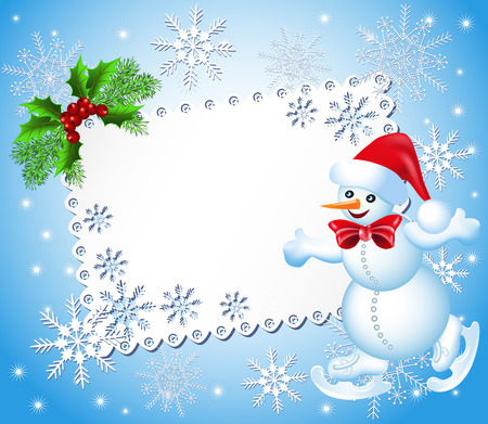 Christmas background with snowman skates and signboard Vector