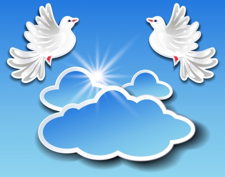 Information banner with clouds and two pigeons Vector