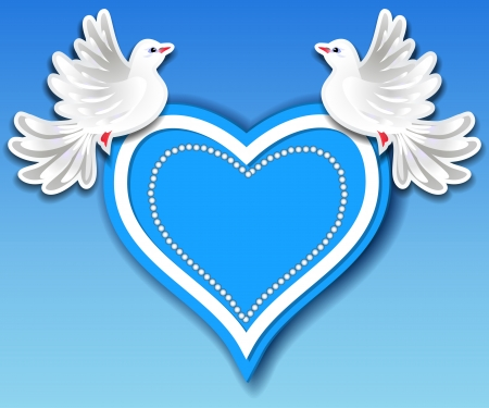 Blue heart and two pigeons in the sky Vector