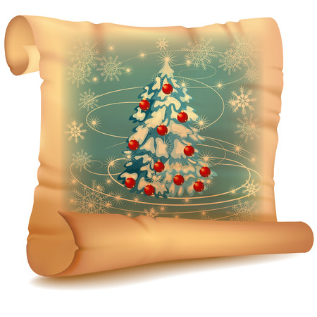 unfolded: Old parchment with Christmas tree and snowflakes