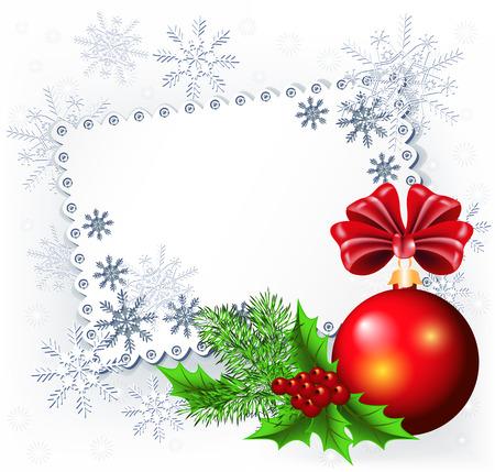 tarjeta postal: Encaje de fondo con bolas de Navidad y abeto ramita de imagen o de texto Vectores