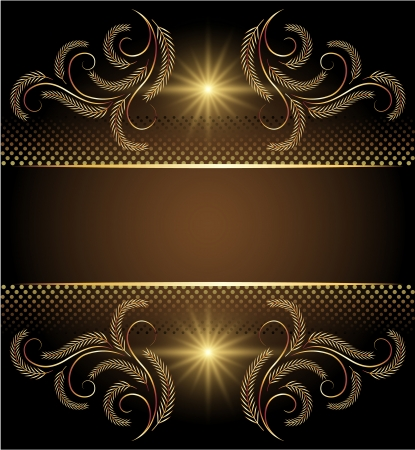 Background with stars and golden ornament Vector