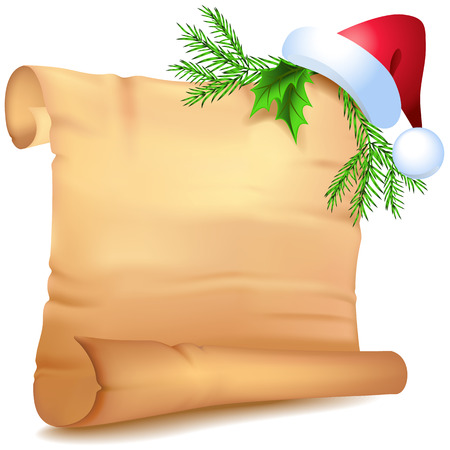 unfolded: Old parchment Santa Claus  hat  with decorative Christmas spruce branches