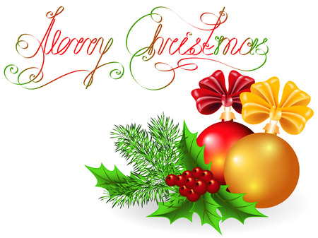 Christmas decorative balls with bows and fir branches and text Vector