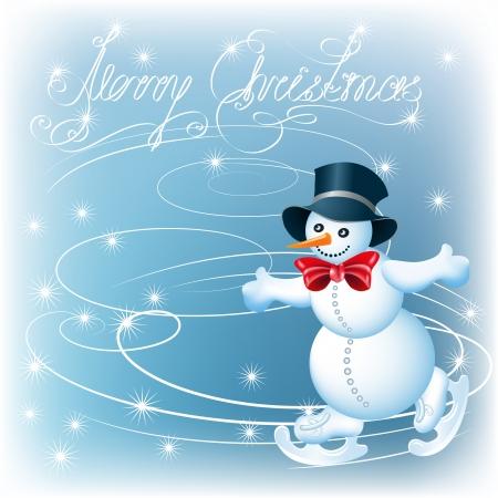 Snowman skates and text Merry Christmas