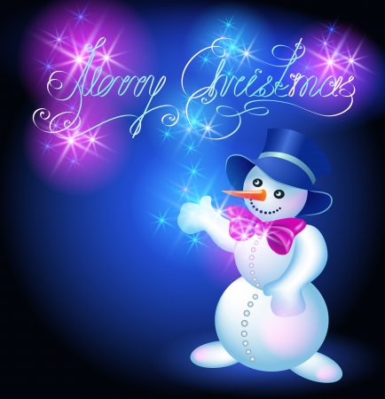 Snowman in top hat and bow on the background of sparkling congratulations Vector