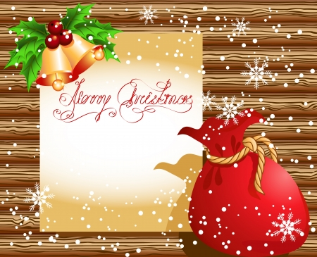 bagful: Christmas paper signboard with santa bag and golden bells on the wooden wall Illustration