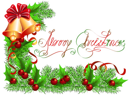 Christmas background with bells and spruce Vector