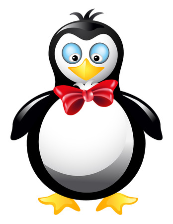 Amusing  penguin with red bow Vector