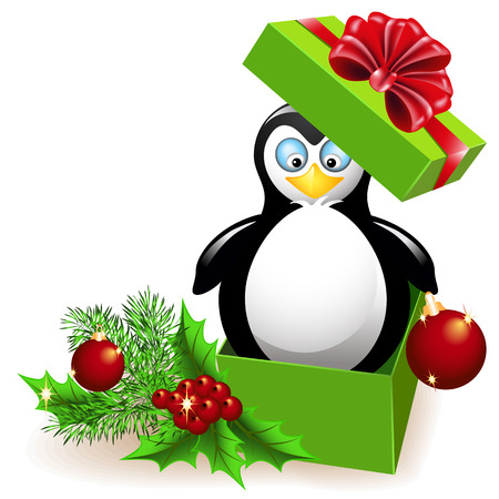 Penguin in the Christmas gift box Vector
