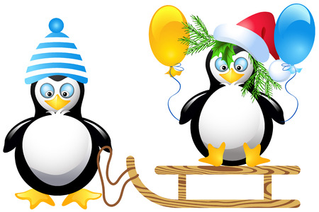 Funny penguins with balloons sledding Vector