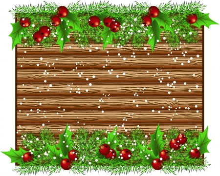 Christmas wooden signboard with spruce garland and snow Vector