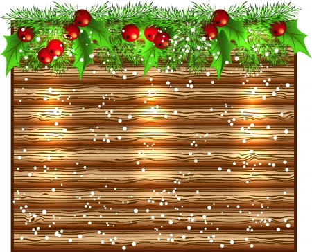Christmas glowing wooden signboard with spruce garland Vector