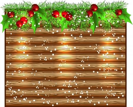 spruce: Navidad brillante letrero de madera con guirnalda de abeto Vectores