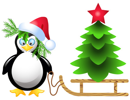 Penguin is transporting  Christmas tree with red star on sled Vector