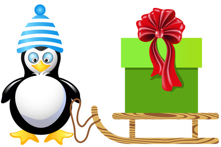 Penguin is transporting a Christmas gift box on a sled Vector