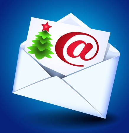 fur tree: Busta e carta con e-mail segno e albero di pelliccia
