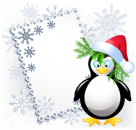 Christmas card with amusing penguin Vector