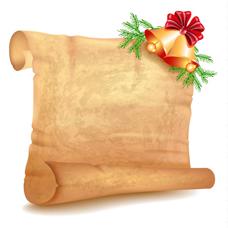 unfolded: Old parchment and Christmas decorative jingle bells