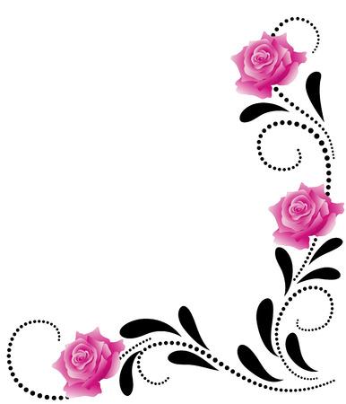 rosa negra: Esquina decorativa adornos florales con rosas de color rosa Vectores