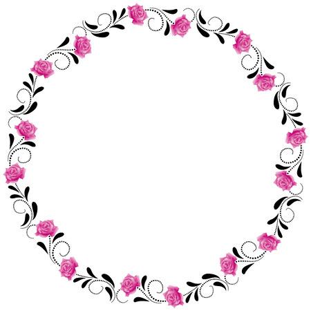 round corner: Decorative round frame with pink roses