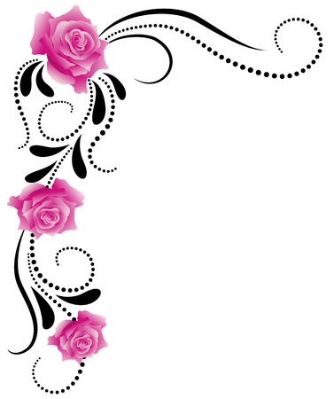 twirl: Esquina decorativa adornos florales con rosas de color rosa Vectores